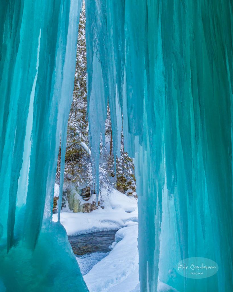 Utsyn til elva fra inne i Iskjørkja