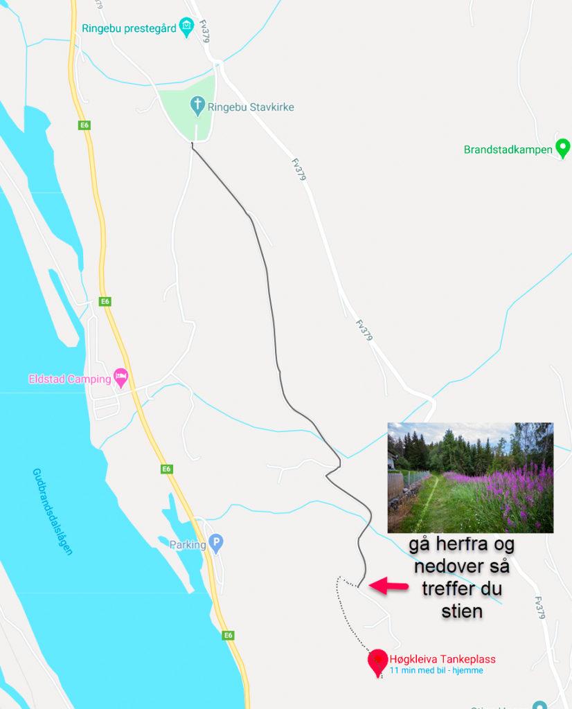 Google maps er helt ubrukelig her - det sender deg på feil sted. Men har du en som kan slippe deg av langs bilvegen går stien ned her: