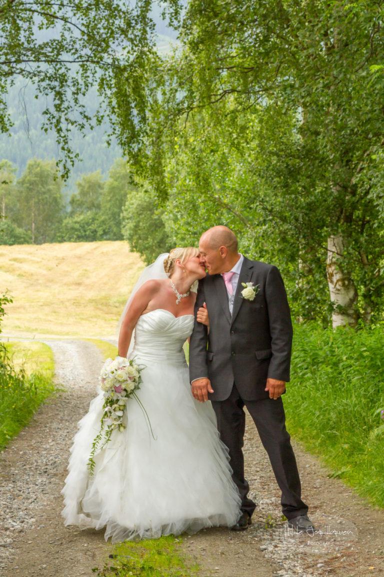 Bjørketrær, åkrer, grusveg og brudepar